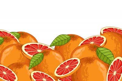 Vinilo Pomelo aislado sobre fondo blanco. Composición de pomelo, plantas y hojas. Alimentos orgánicos. Raster de pomelo.