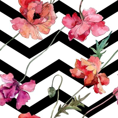 Vinilo Poppy floral botanical flower. Watercolor background illustration set. Seamless background pattern.
