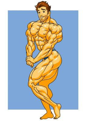 Vinilo posando musculoso culturista, ejemplo, color, logotipo, aislado en un blanco