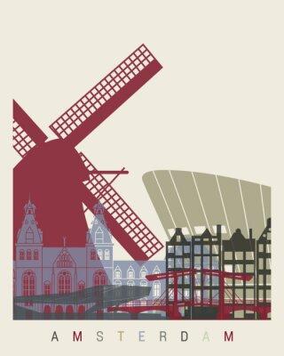 Vinilo Póster del horizonte de Amsterdam