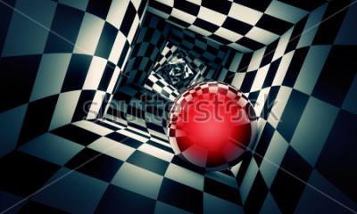 Vinilo Predetermination. Red ball in a chess tunnel (concept image). The space and time. 3D illustration. Available in high-resolution and several. If you buy this image, I will be very grateful to you!