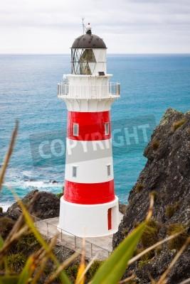 Vinilo Primer plano de un hermoso faro en el Cabo Palliser, Isla Norte, Nueva Zelanda