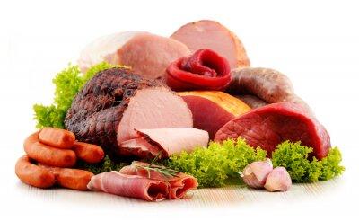 Vinilo Productos de carne incluyendo jamón y salchichas aislados en blanco