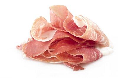Vinilo Prosciutto crudo italiano, pierna de jamón crudo en rodajas en blanco