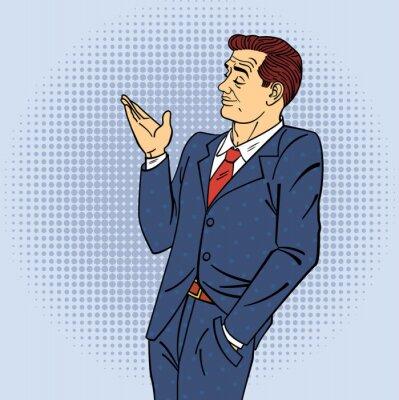 Vinilo Publicidad Man in Pop Art Style Señalando la mano en su producto