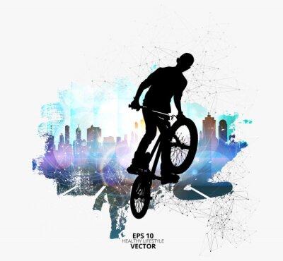Vinilo Puente de bicicleta macho joven. Estilo de vida saludable.