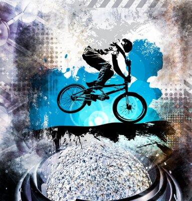Vinilo Puente de bicicleta macho joven. Estilo de vida saludable