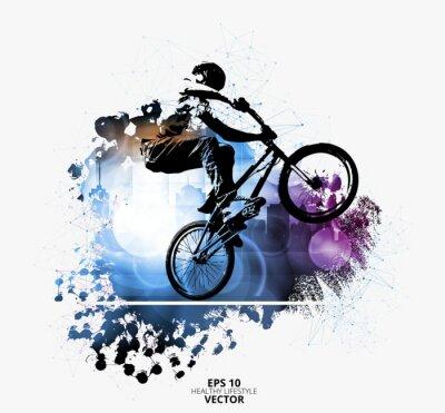 Vinilo Puente de bicicleta macho joven. Estilo de vida saludable. Vector
