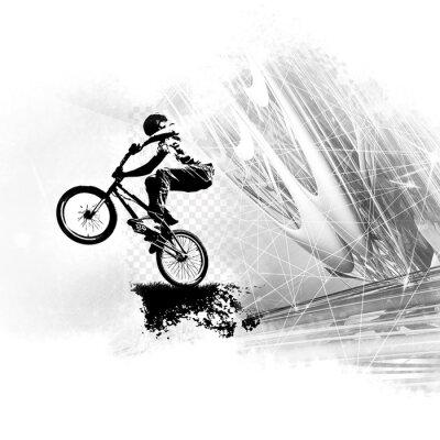 Vinilo Puente de bicicleta masculino joven.
