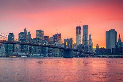 Vinilo Puente de Brooklyn y Manhattan en la oscuridad