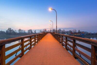 Vinilo Puente de madera sobre el río Nogat en el castillo de Malbork, Polonia