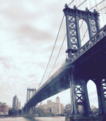Vinilo Puente de Manhattan sobre el río en estilo vintage, Nueva York