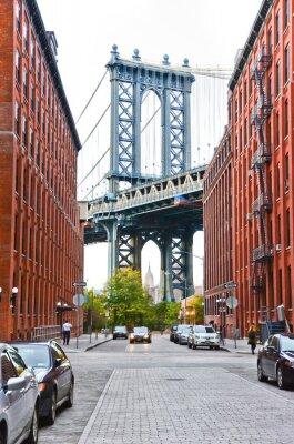 Vinilo Puente de Manhattan visto entre edificios en la ciudad de Nueva York