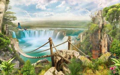 Vinilo Puente sobre cascada