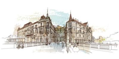Vinilo Puente Triple (Tromostovje). Ilustración de vector de Ljubljana, Eslovenia.