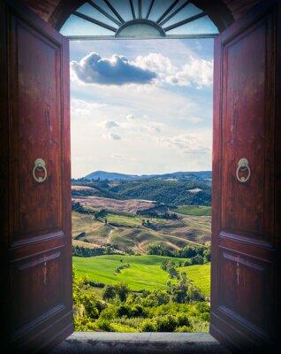 Vinilo Puerta abierta y paisaje
