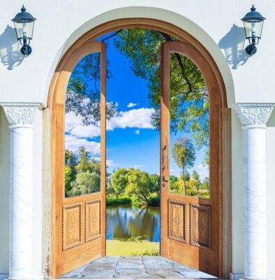 Vinilo Puerta Arco estanque abierto