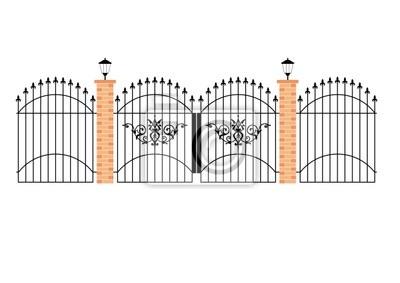 Puertas de hierro forjado elegantes con pilares de ladrillo y vinilos para port tiles vinilos - Pilares de hierro ...