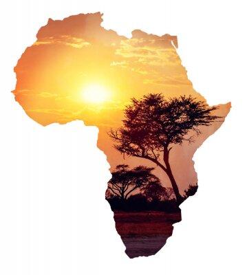 Vinilo Puesta de sol africana con acacia, Mapa de concepto de África