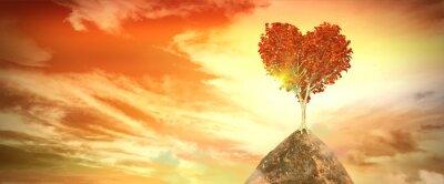 Vinilo Puesta de sol con el árbol del corazón