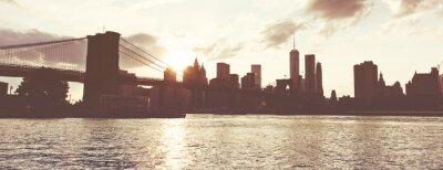 Vinilo Puesta de sol de oro sobre el horizonte de Manhattan, Nueva York, EE.UU.