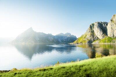 Vinilo Puesta de sol en las islas Lofoten, Noruega