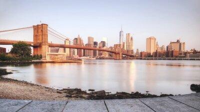 Vinilo Puesta de sol escénica de la ciudad de Nueva York desde la orilla del río