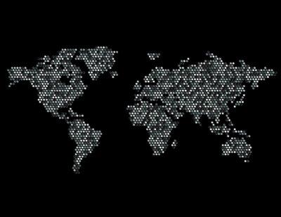 Vinilo Punteada Mapa del Mundo Continentes Random Gray