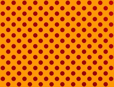 Vinilo Punto de polca rojo sobre fondo naranja