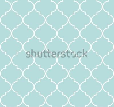 Vinilo Quatrefoil geométrico de patrones sin fisuras, fondo, ilustración vectorial en azul menta, suave color turquesa y blanco.