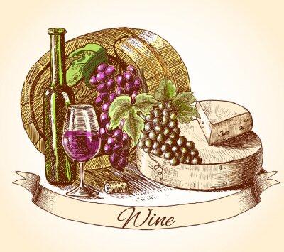 Vinilo Queso y vino pan fondo