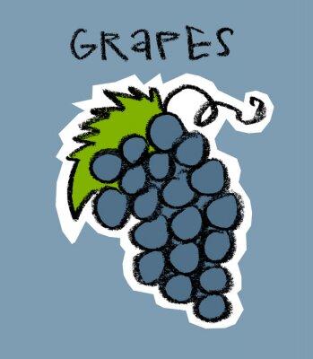 Vinilo Racimo de uvas sobre fondo azul