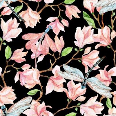 Vinilo Ramas de la magnolia de la acuarela y libélula