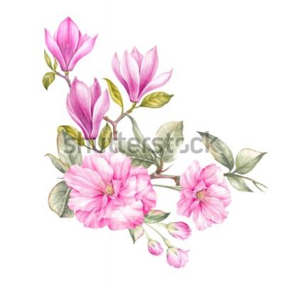 Vinilo Ramo de magnolia. Tarjeta de invitación para bodas, cumpleaños y otras vacaciones y verano de fondo. Ilustración botánica