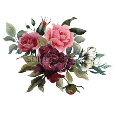 Vinilo Ramo de rosas, peonías y eustoma, acuarela, se puede utilizar como tarjeta de felicitación, tarjeta de invitación para bodas, cumpleaños y otras fiestas y verano.