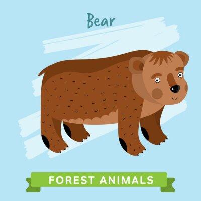 Vinilo Raster de osos. Animales silvestres y forestales. Ilustración de personajes de dibujos animados. Animal Divertido.