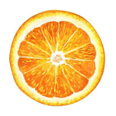 Vinilo Rebanada de naranja fresca aislada en el fondo blanco