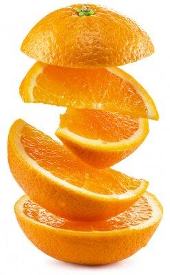 Vinilo Rebanadas de naranja sobre fondo blanco.