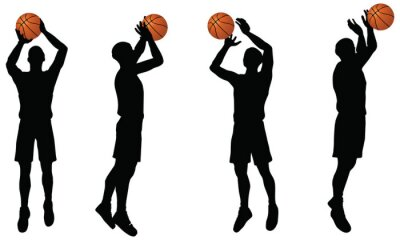Vinilo recogida de los jugadores de baloncesto silueta en posición rodaje