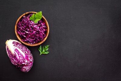 Red Cabbage Coleslaw Cold Slaw On Black Kitchen Desk Top Down Vinilos Para La Pared Texto Espacio De La Copia Espacio Myloview Es