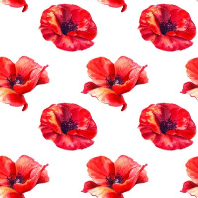 Vinilo Red poppies on a white background. Floral seamless pattern with big bright flowers.Summer watercolour illustration for print textile,fabric,wrapping paper.