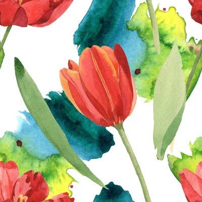 Vinilo Red tulip floral botanical flowers. Watercolor background illustration set. Seamless background pattern.