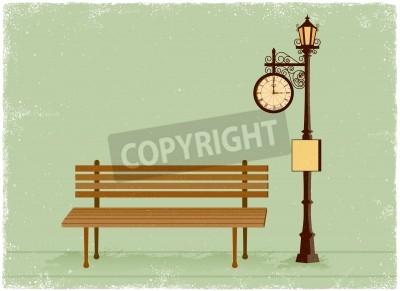 Vinilo Reloj de la calle y lámpara con banco de un parque de estilo vector vendimia