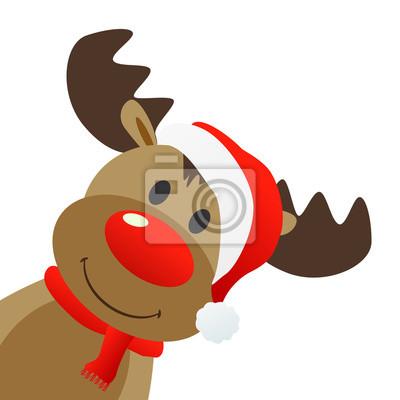 Vinilo Reno con Weihnachtsmütze