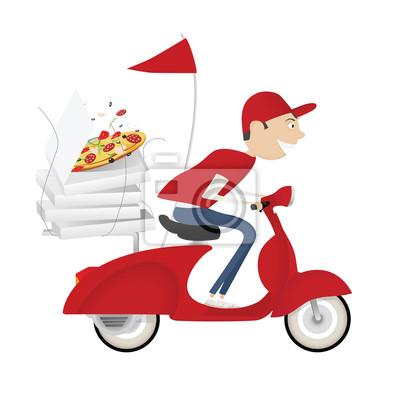 Repartidor de pizza divertido montar en bicicleta de motor de ...