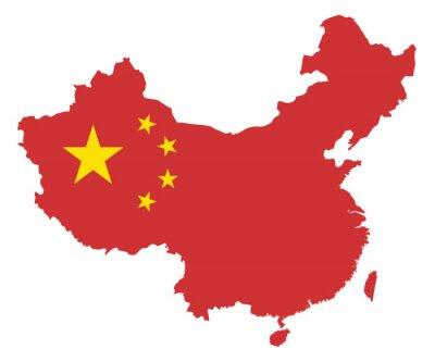 Vinilo República Popular de China en la bandera Mapa Ilustración Vector