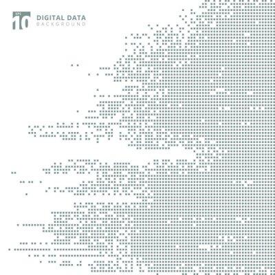 Vinilo Resumen de tecnología digital de datos cuadrados gris patrón de píxeles de fondo.