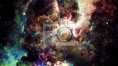Vinilo Resumen digital de una galaxia brillante y colorido de la nebulosa y de las estrellas