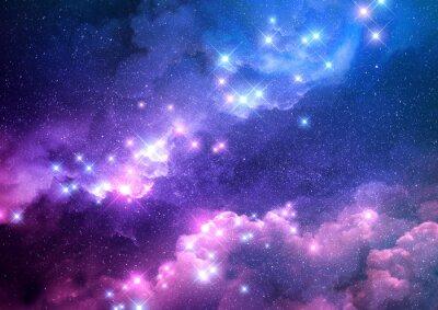 Vinilo Resumen galaxia rosa y azul de fondo lleno de estrellas brillantes. Ilustración de trama.