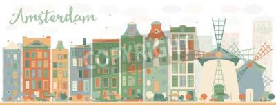 Vinilo Resumen Horizonte de la ciudad de Amsterdam con edificios de color. Ilustración del vector. Viajes de negocios y concepto de turismo con edificios históricos. Imagen para la presentación, la bandera,